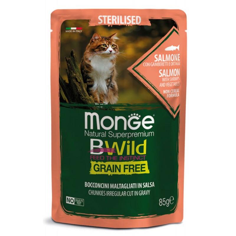 Влажный корм для кошек Monge Bwild Grain free из лосося с креветками и овощами для стерилизованных  пауч 0,085 кг
