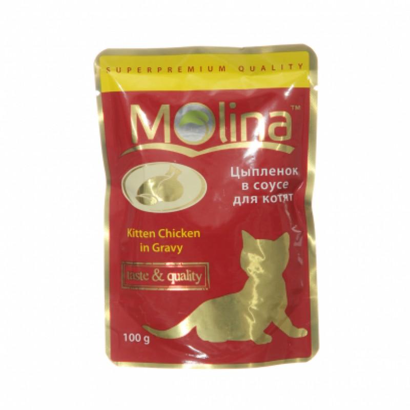Влажный корм для кошек Molina Цыпленок в Соусе 0,1 кг