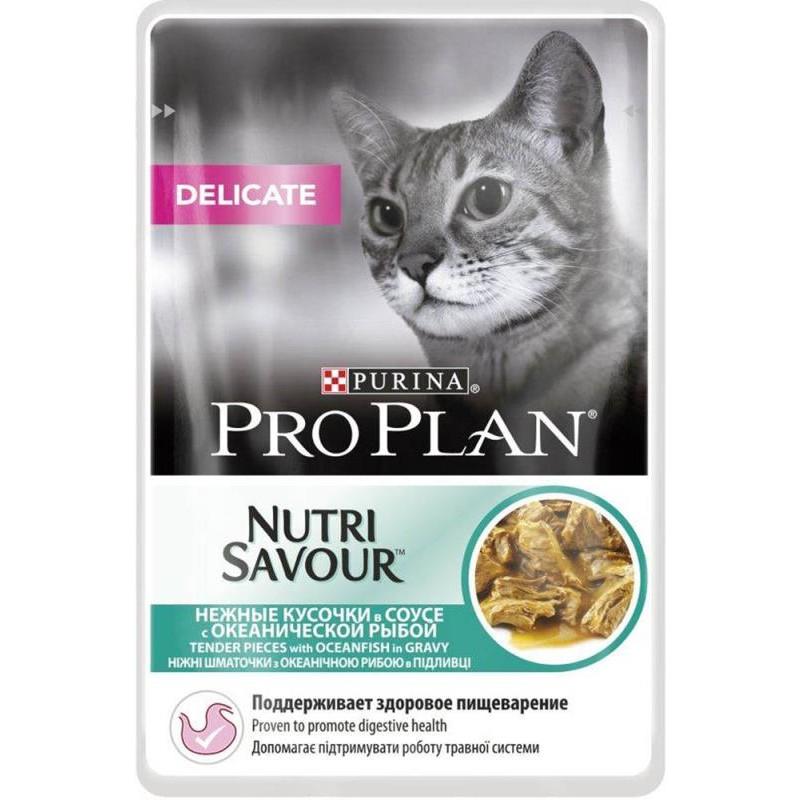 Влажный корм для кошек Purina Pro Plan NutriSavour Delicate Feline with Ocean Fish pouch в соусе 0,085 кг