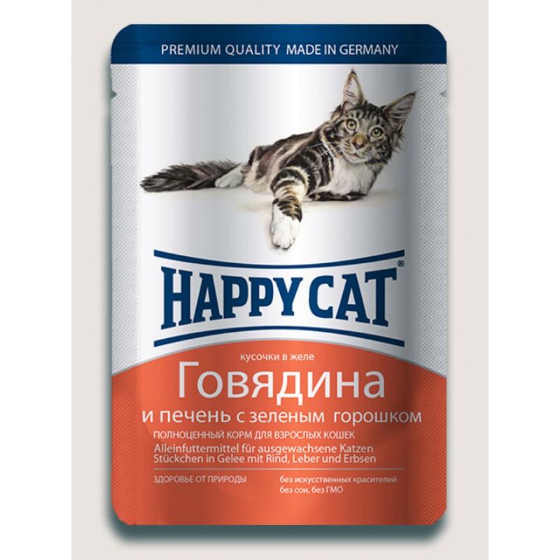 Влажный корм для кошек Happy Cat нежные кусочки в желе пауч с говядиной и печенью с горошком 0,1 кг