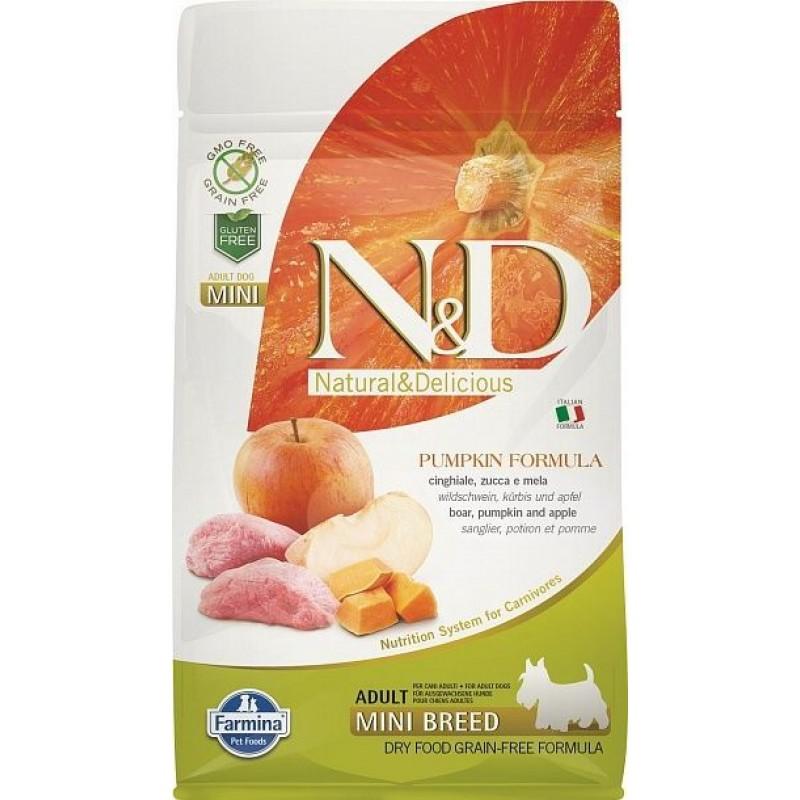 Сухой корм для собак Farmina N&D Pumpkin Adult Mini беззерновой с кабаном, яблоком и тыквой  0,8 кг