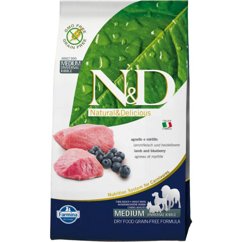Сухой корм для собак Farmina N&D Prime Adult Medium & Maxi беззерновой с ягненком и черникой 2,5 кг