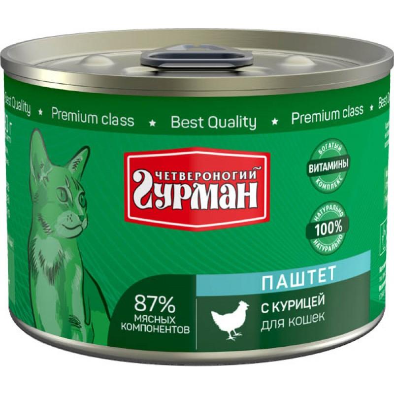 Влажный корм для кошек Четвероногий Гурман Паштет с курицей 0,19 кг