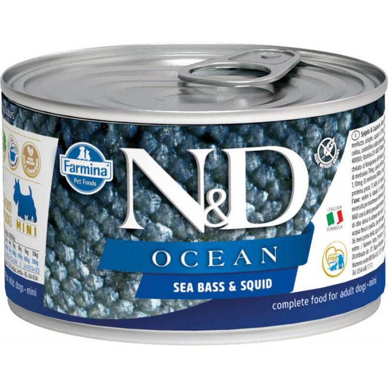 Влажный корм для собак Farmina N & D Cean Sea Bass & Squid Mini с сибасом и кальмарами для маленьких пород 0,14 кг