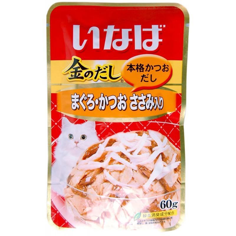 Влажный корм для кошек Premium Pet Inaba Микс из тихоокеанского тунца, парного филе курицы и японского тунца-бонито 0,06 кг
