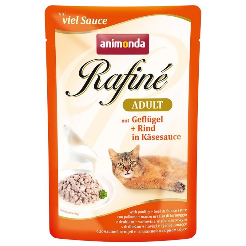 Влажный корм для кошек Animonda Rafine Soupe Adult пауч коктейль из домашней птицы и говядины в сырном соусе 0,1 кг