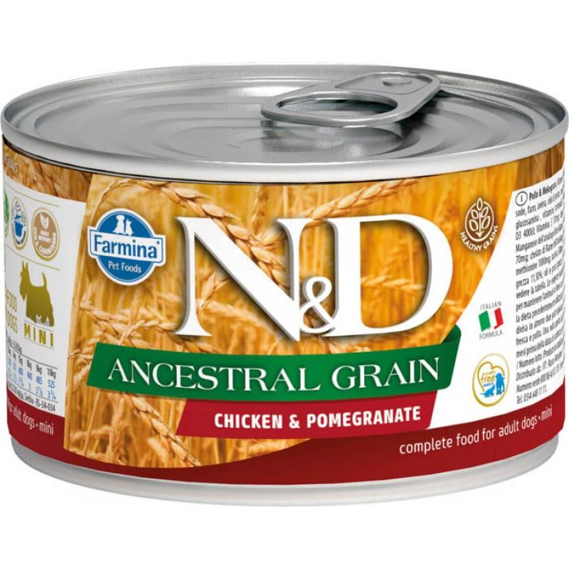 Влажный корм для собак Farmina N & D Ancestral Grain Chicken & Pomegr Mini с курицей и гранатом для маленьких пород 0,14 кг