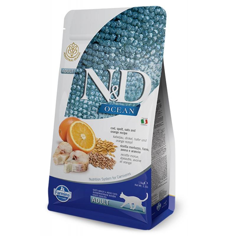 Сухой корм для кошек Farmina N&D Ocean Adult низкозерновой с треской, овсом и апельсином 1,5 кг