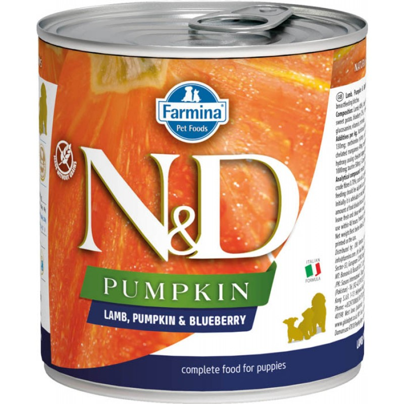 Влажный корм для щенков Farmina N & D Lamb, Pumpkin & Blueberry Puppy с ягненком, черникой и тыквой 0,285 кг