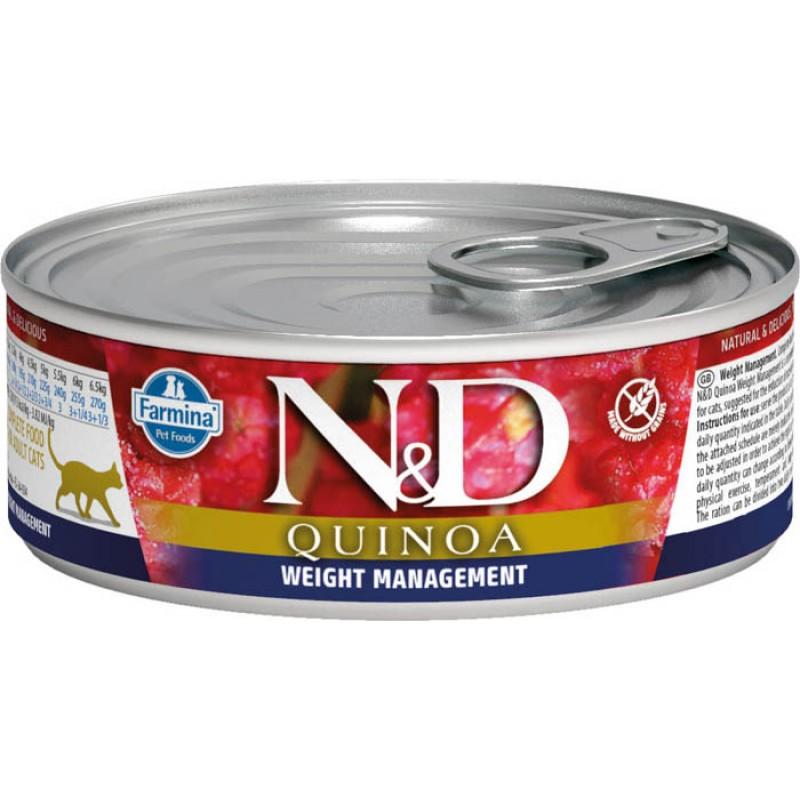 Влажный корм для кошек Farmina N & D Quinoa Weight Management с киноа для контроля веса 0,08 кг