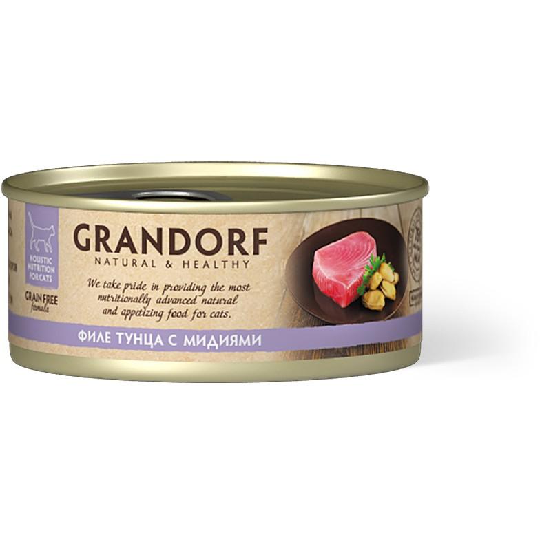 Влажный корм для кошек Grandorf Филе тунца с мидиями 0,07 кг