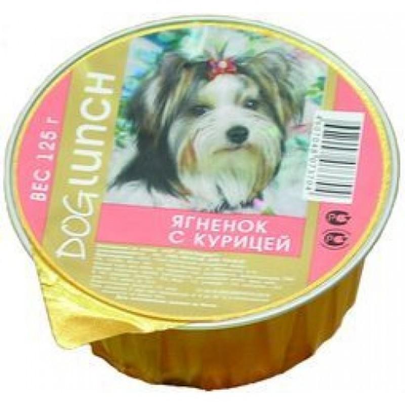 Влажный корм для собак Dog Lunch Крем-суфле Ягнёнок с курицей 0,125 кг