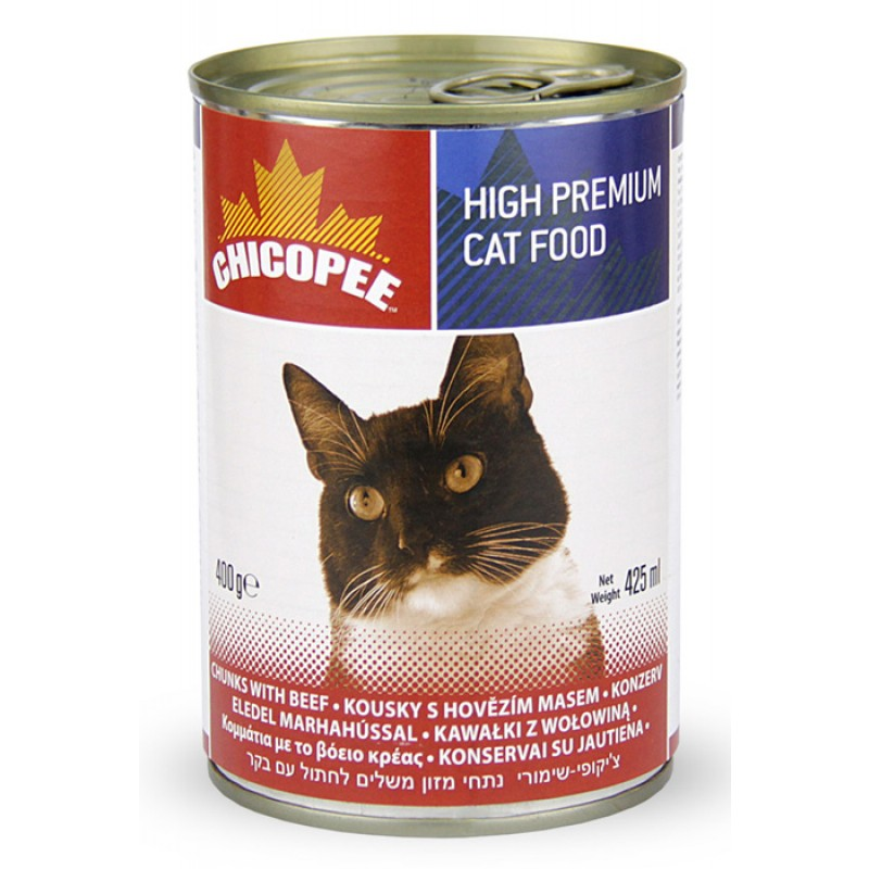 Влажный корм для кошек Chicopee Chunks с кусочками говядины в соусе 0,4 кг