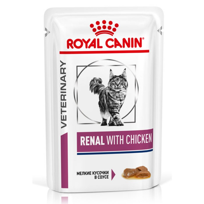 Влажный корм Royal Canin Renal Feline with Chicken пауч диета для кошек 0,085 кг