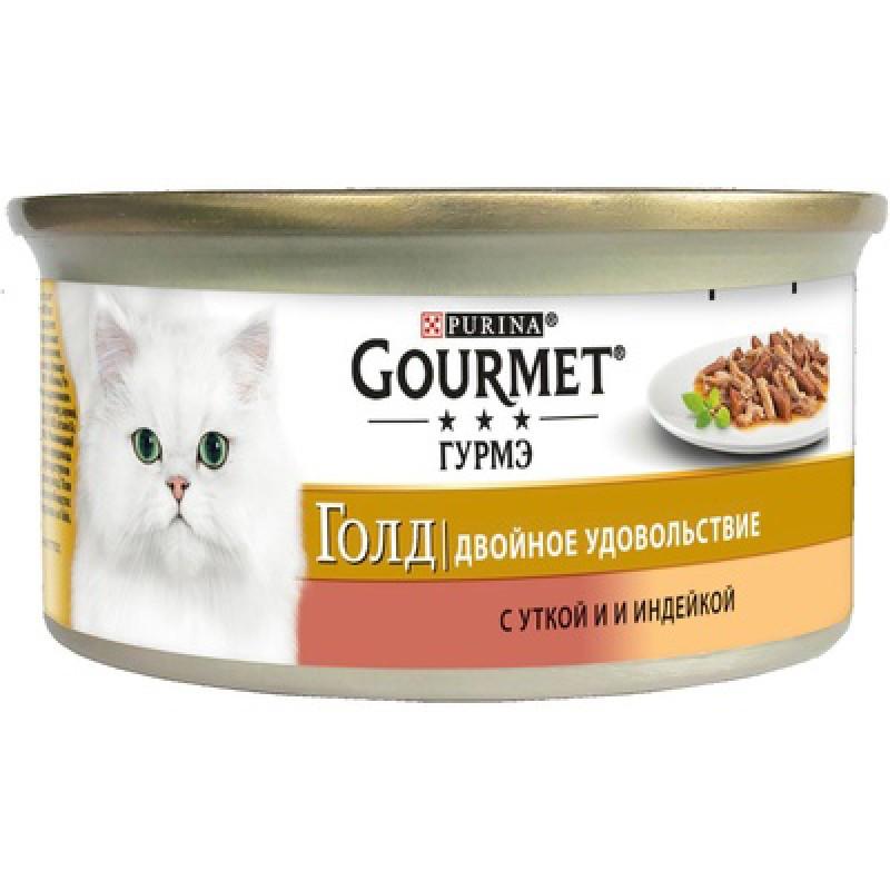 Влажный корм для кошек Gourmet Gold Duo кусочки в подливе с уткой и индейкой 0,085 кг