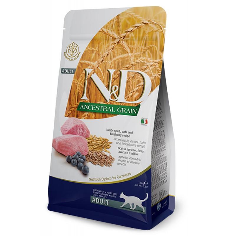 Сухой корм для кошек Farmina N&D Ancestral Grain Adult низкозерновой с ягненком и черникой 1,5 кг