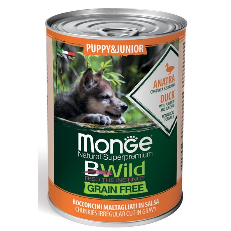 Влажный корм для щенков Monge BWild Grainfree Puppy из утки с тыквой и кабачками 0,4 кг