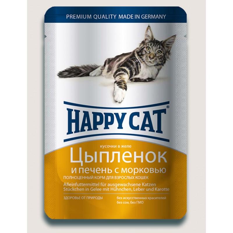 Влажный корм для кошек Happy Cat нежные кусочки в желе пауч, цыпленок и печень 0,1 кг