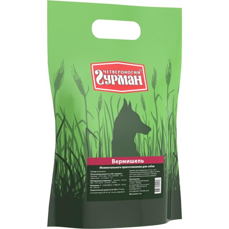 Каша для собак Четвероногий Гурман Вермишель моментального приготовления в пакете 3 кг