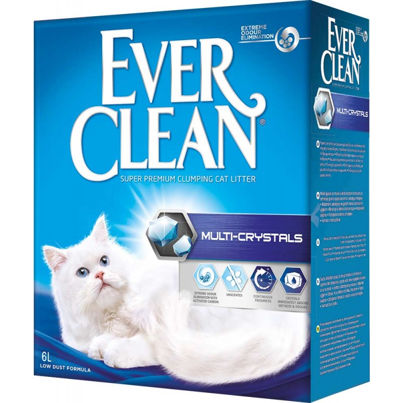 Наполнитель Ever Clean Multi Crystals комкующийся бентонит без запаха 6кг 6 л
