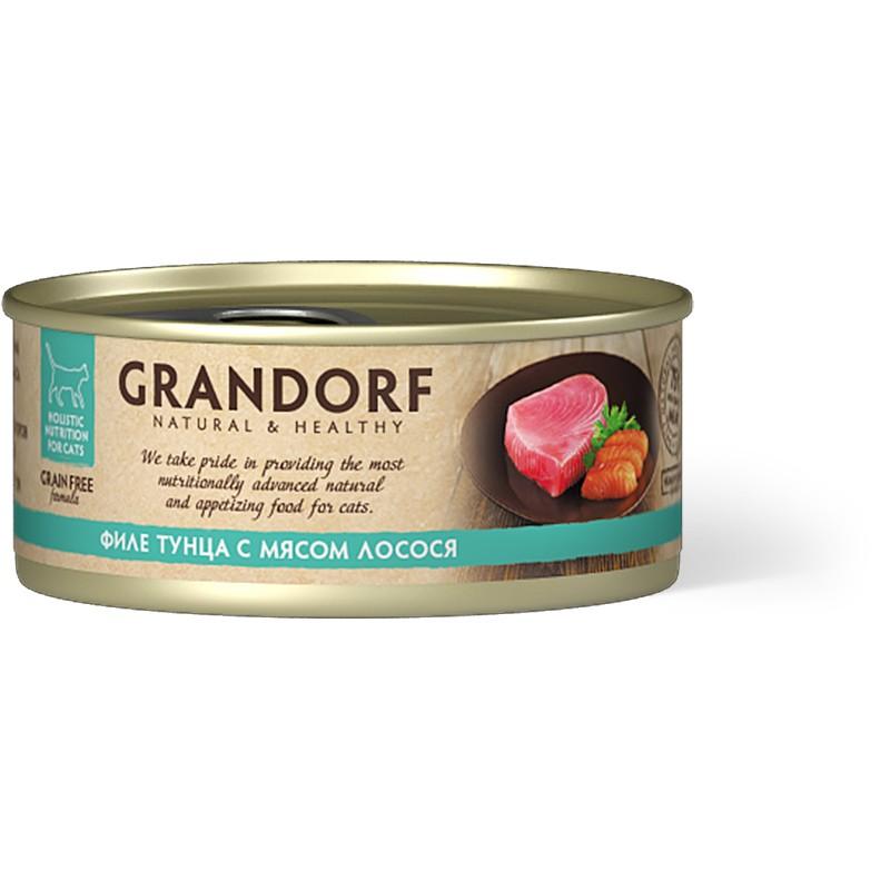 Влажный корм для кошек Grandorf Филе тунца с мясом лосося 0,07 кг