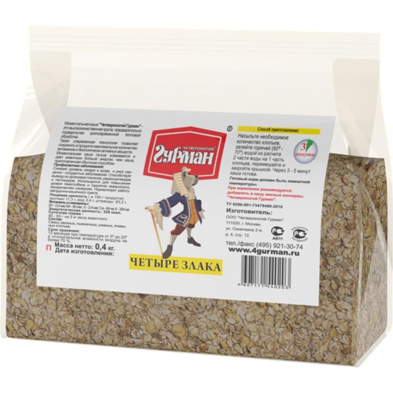 Каша для собак Четвероногий Гурман 4 злака в пакете 0,4 кг