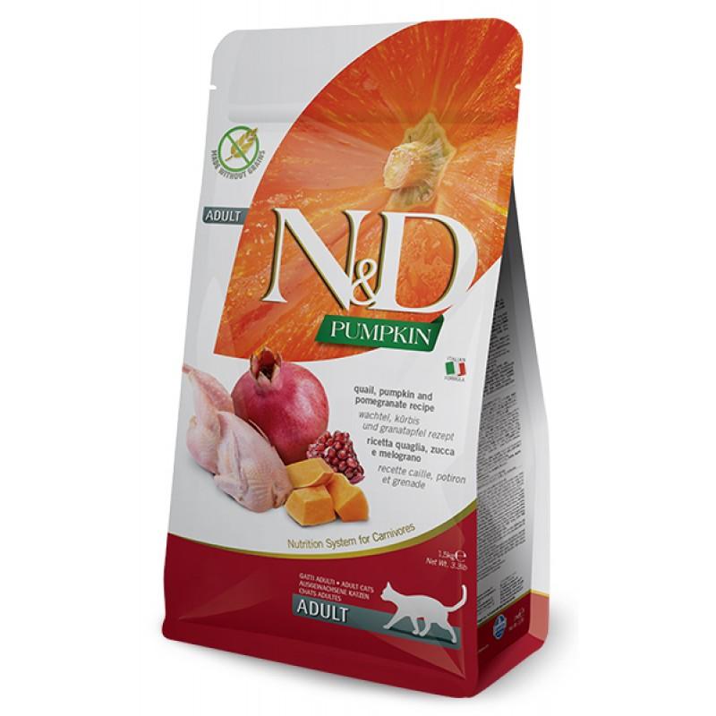 Сухой корм для кошек Farmina N&D Pumpkin Adult беззерновой с перепелом, тыквой и гранатом 1,5 кг
