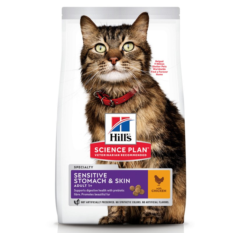Сухой корм для кошек Hills Science Plan Feline Adult Sensitive Stomach&Skin Chicken 7 кг
