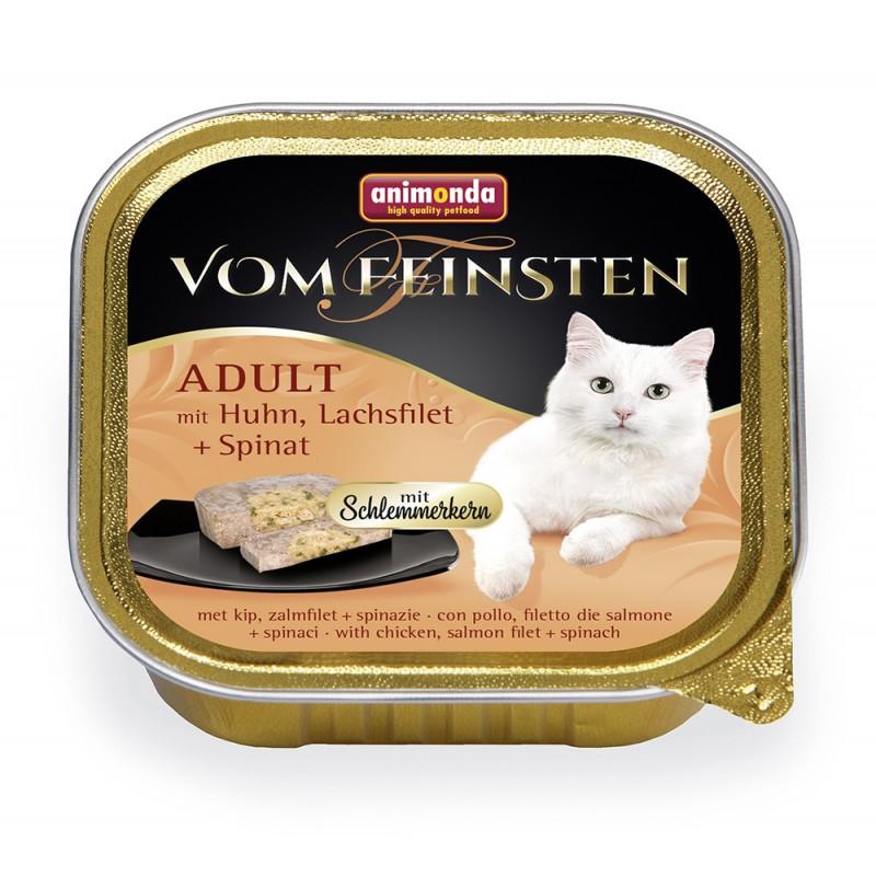 Влажный корм для кошек Animonda Vom Feinsten Adult с курицей, филе лосося и шпинатом 0,1 кг