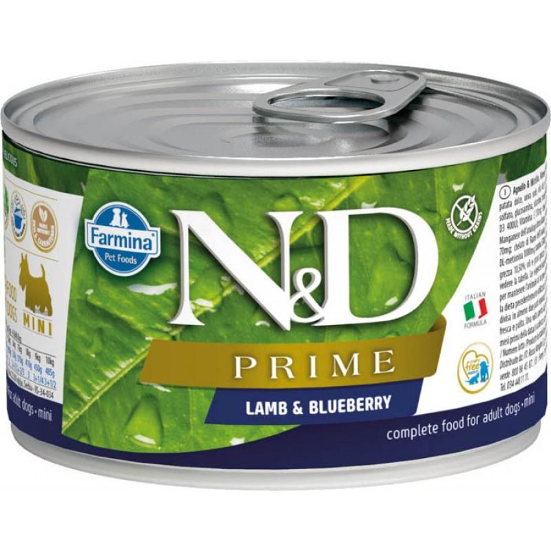 Влажный корм для собак Farmina N & D Prime Lamb & Blueberry Mini с ягненком и черникой для маленьких пород 0,14 кг