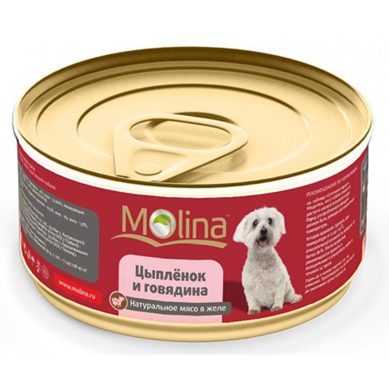 Влажный корм для собак Molina Цыпленок с Говядиной в Желе 0,085 кг