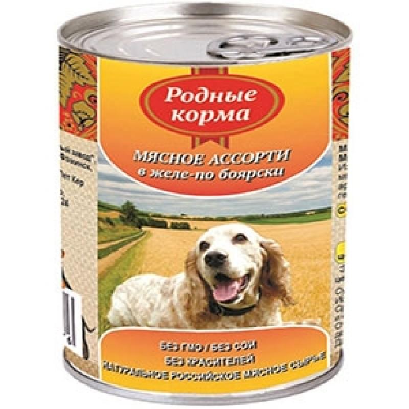 Влажный корм для собак Родные Корма Мясное ассорти в желе по-боярски 0,41 кг