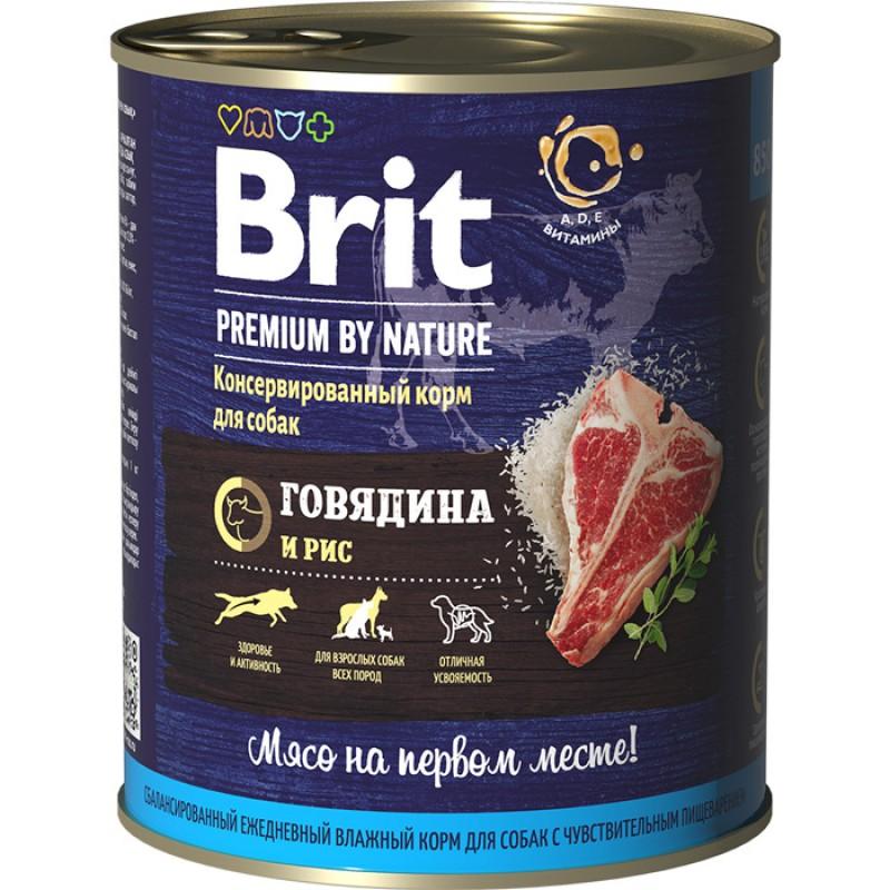 Влажный корм для собак Brit Premium by Nature Говядина и рис 0,85 кг